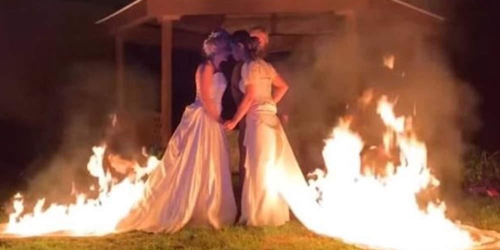Δύο γυναίκες που παντρεύτηκαν κόντεψαν να καούν βάζοντας φωτιά στα νυφικά [βίντεο]