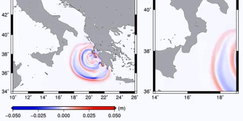 Καρέ-καρέ ολόκληρη η πορεία του τσουνάμι από τη Ζάκυνθο στην Ιταλία μετά το σεισμό