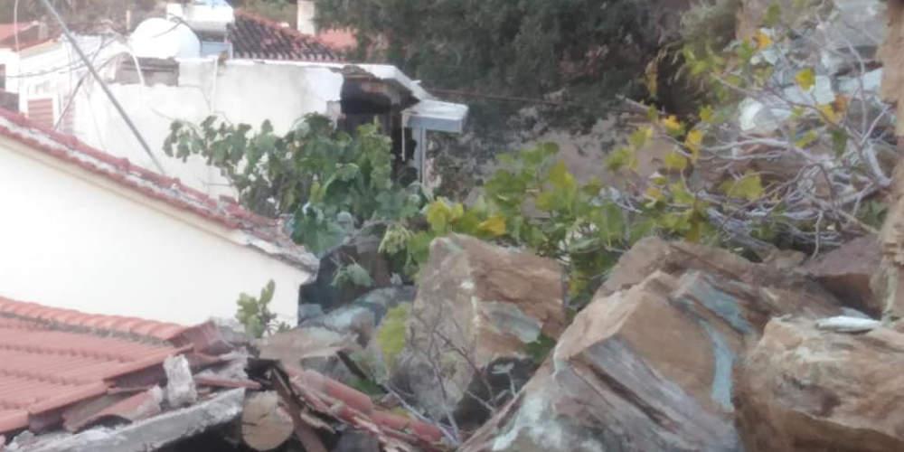 Νύχτα τρόμου στη Λέσβο: Καταπλακώθηκαν σπίτια από κατολισθήσεις στο Πλωμάρι[εικόνες]
